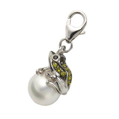ZEEme Charms & Beads Charm 925/- Sterling Silber Frosch Perle weiß