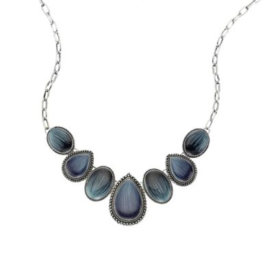 ZEEme Fashion Collier Metall Lack blau