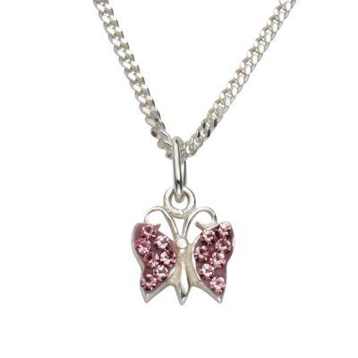 ZEEme for Kids Anhänger mit Kette 925/- Sterling Silber Kristall pink