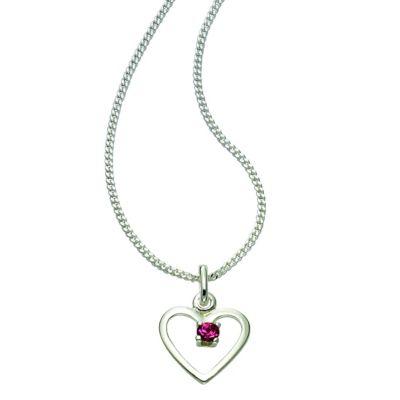 Zeeme For Kids Anhänger mit Kette 925/- Sterling Silber Kristall rosa 36/38 cm Glänzend