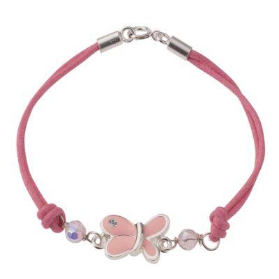 ZEEme for Kids Armband 925/- Sterling Silber Textil Schmetterling