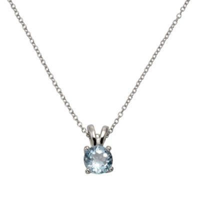 Zeeme Gemstones Anhänger mit Kette 925/- Sterling Silber Blautopas beh. blau 42+3cm Glänzend