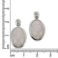 Zeeme Gemstones Ohrstecker 925/- Sterling Silber Rosenquarz rosa 2,2cm Rhodiniert - Produktdetailbild 1