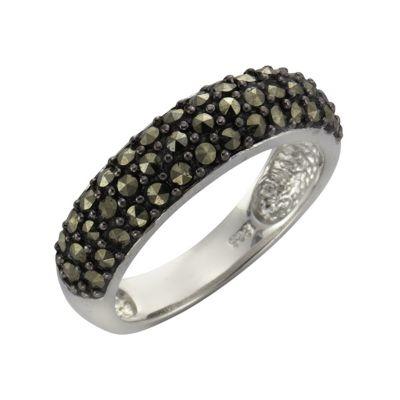 Zeeme Gemstones Ring 925/- Sterling Silber Markasit schwarz Rhodiniert (Größe: 052 (16,6))