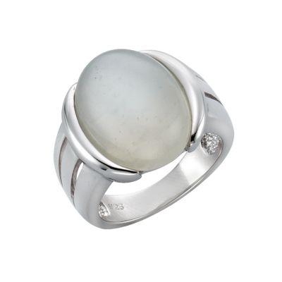 Zeeme Gemstones Ring 925/- Sterling Silber Mondstein weiß Rhodiniert (Größe: 054 (17,2))