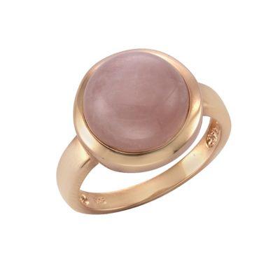 Zeeme Gemstones Ring 925/- Sterling Silber Rosenquarz rosa rotvergoldet (Größe: 060 (19,1))