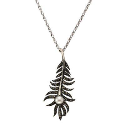 ZEEme Jewelry Anhänger mit Kette 925/- Sterling Silber Markasit Perle