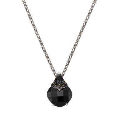 ZEEme Jewelry Anhänger mit Kette 925/- Sterling Silber Markasit Achat