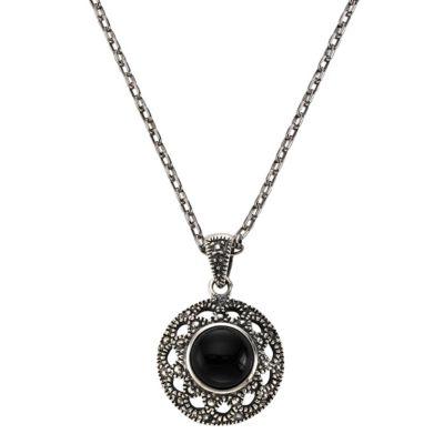 ZEEme Jewelry Anhänger mit Kette 925/- Sterling Silber Achat schwarz