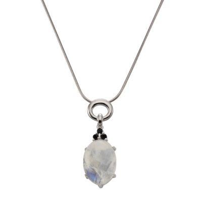 ZEEme Jewelry Anhänger mit Kette 925/- Sterling Silber Mondstein Spinell