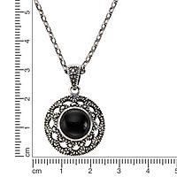 ZEEme Jewelry Anhänger mit Kette 925/- Sterling Silber Achat schwarz - Produktdetailbild 1