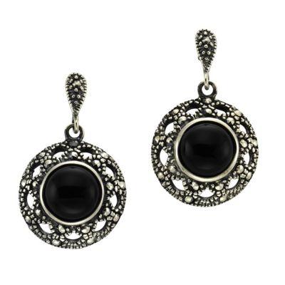 ZEEme Jewelry Ohrhänger 925/- Sterling Silber Achat schwarz