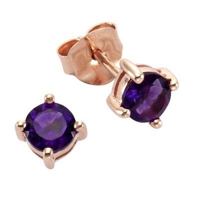 ZEEme Jewelry Ohrstecker 925/- Sterling Silber mit Amethyst