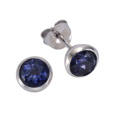 ZEEme Jewelry Ohrstecker 925/- Sterling Silber Topas dunkelblau