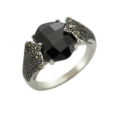 ZEEme Jewelry Ring 925/- Sterling Silber Achat Markasit (Größe: 058 (18,5))