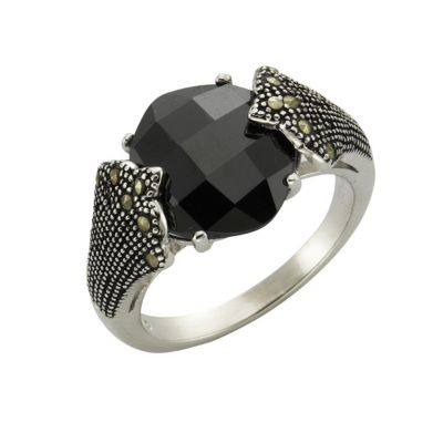 ZEEme Jewelry Ring 925/- Sterling Silber Achat Markasit (Größe: 060 (19,1))