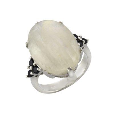 ZEEme Jewelry Ring 925/- Sterling Silber Mondstein und Spinell (Größe: 058 (18,5))