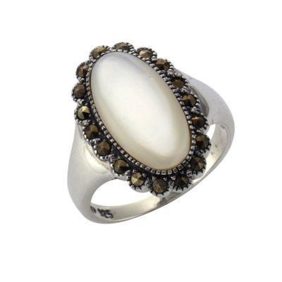 ZEEme Jewelry Ring 925/- Sterling Silber Perlmutt Markasit (Größe: 058 (18,5))