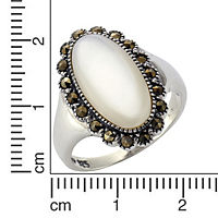 ZEEme Jewelry Ring 925/- Sterling Silber Perlmutt Markasit (Größe: 058 (18,5)) - Produktdetailbild 1