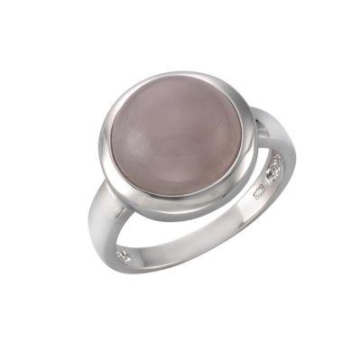 ZEEme Jewelry Ring 925/- Sterling Silber rhodiniert Rosenquarz (Größe: 054 (17,2))