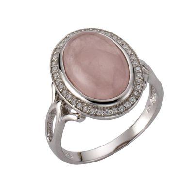 ZEEme Jewelry Ring 925/- Sterling Silber rhodiniert Rosenquarz (Größe: 058 (18,5))