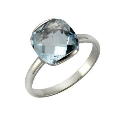 ZEEme Jewelry Ring 925/- Sterling Silber rhodiniert Blautopas (Größe: 058 (18,5))