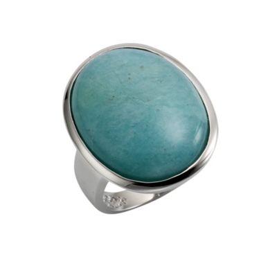 ZEEme Jewelry Ring 925/- Sterling Silber rhodiniert Amazonit (Größe: 054 (17,2))