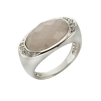 ZEEme Jewelry Ring 925/- Sterling Silber Rosenquarz (Größe: 058 (18,5))