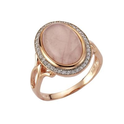 ZEEme Jewelry Ring 925/- Sterling Silber rotvergoldet Rosenquarz (Größe: 058 (18,5))