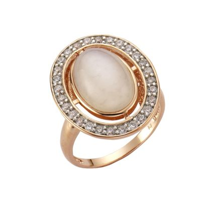 ZEEme Jewelry Ring 925/- Sterling Silber rotvergoldet Mondstein (Größe: 058 (18,5))