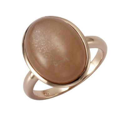 ZEEme Jewelry Ring 925/- Sterling Silber rotvergoldet Mondstein (Größe: 054 (17,2))