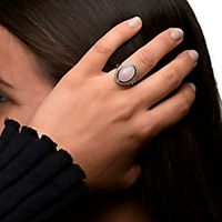 ZEEme Jewelry Ring 925/- Sterling Silber rotvergoldet Rosenquarz (Größe: 058 (18,5)) - Produktdetailbild 1
