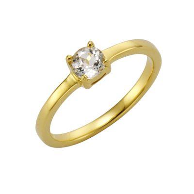 ZEEme Jewelry Ring 925/- Sterling Silber vergoldet mit Weißtopas (Größe: 052 (16,6))