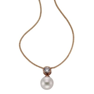 ZEEme Pearls Anhänger mit Kette 925/- Sterling Silber Perle weiß
