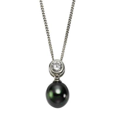 ZEEme Pearls Anhänger mit Kette 925/- Sterling Silber Perle schwarz