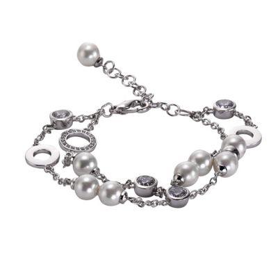 ZEEme Pearls Armband Messing Muschelkernperle weiß