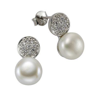 ZEEme Pearls Ohrstecker 925/- Sterling Silber Perle Zirkonia weiß
