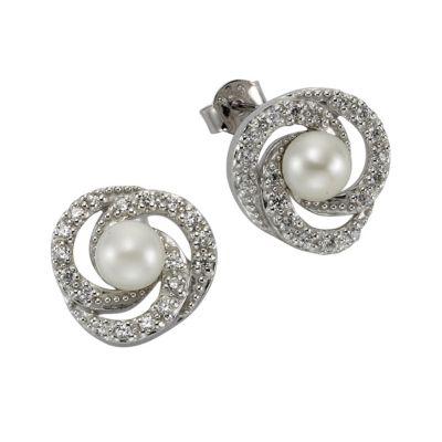 ZEEme Pearls Ohrstecker 925/- Sterling Silber Perle mit Zirkonia