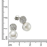 ZEEme Pearls Ohrstecker 925/- Sterling Silber Perle Zirkonia weiß - Produktdetailbild 1