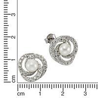 ZEEme Pearls Ohrstecker 925/- Sterling Silber Perle mit Zirkonia - Produktdetailbild 1