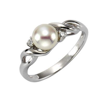 ZEEme Pearls Ring 925/- Sterling Silber Perle mit Zirkonia weiß (Größe: 052 (16,6))
