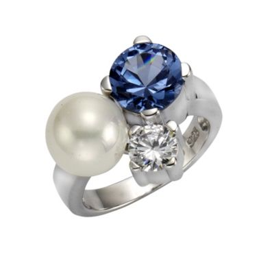 ZEEme Pearls Ring 925/- Sterling Silber Perle mit Zirkonia (Größe: 054 (17,2))