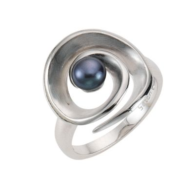 ZEEme Pearls Ring 925/- Sterling Silber Perle schwarz (Größe: 058 (18,5))