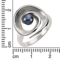 ZEEme Pearls Ring 925/- Sterling Silber Perle schwarz (Größe: 058 (18,5)) - Produktdetailbild 1