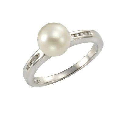 ZEEme Pearls Ring 925/- Sterling Silber Perle weiß mit Zirkonia (Größe: 052 (16,6))