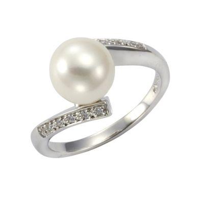 ZEEme Pearls Ring 925/- Sterling Silber Perle weiß mit Zirkonia (Größe: 060 (19,1))