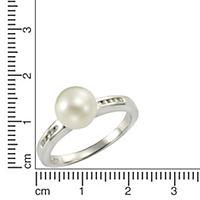 ZEEme Pearls Ring 925/- Sterling Silber Perle weiß mit Zirkonia (Größe: 054 (17,2)) - Produktdetailbild 1