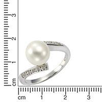 ZEEme Pearls Ring 925/- Sterling Silber Perle weiß mit Zirkonia (Größe: 056 (17,8)) - Produktdetailbild 1