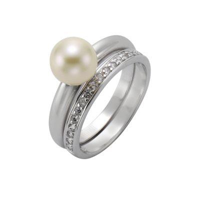 ZEEme Pearls Ring 925/- Sterling Silber Perle Zirkonia weiß (Größe: 058 (18,5))