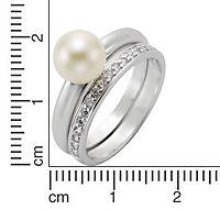 ZEEme Pearls Ring 925/- Sterling Silber Perle Zirkonia weiß (Größe: 058 (18,5)) - Produktdetailbild 1